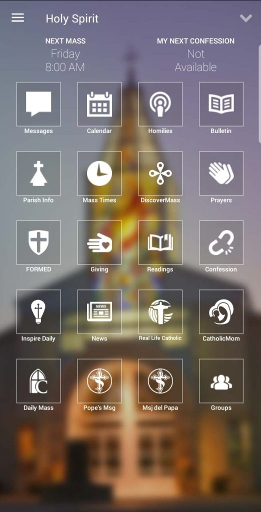 myparish app homescreen screenshot